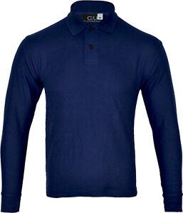 Mens Long Sleeve Plain Pique Polo Shirt Top Warm Work  Casual M-5XL