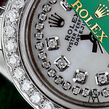 Women's Rolex 26mm Datejust White MOP Mother Of Pearl String Diamond Dial Watch