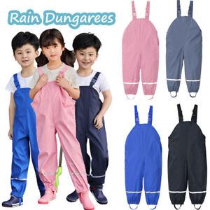 New Toddler Kids Solid Rain Dungarees Windproof Waterproof Mud Jumpsuit Raincoat
