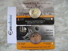 BELGIO 2017 2 EURO UNC UNIVERSITA' LIEGI LIEGE LÜTTICH COPPIA ENTRAMBE VERSIONI