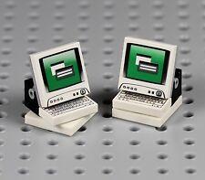 LEGO - 2x Computer Monitor & Keyboard - Swivel Table Desktop Screen Minifigure