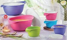 New Tupperware Pretty Pastel Bowls - 650ml (4) 3.5L (2) Set of 6