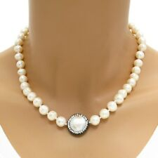 "Genuine Freshwater Pearl 8mm Bead CZ & Hematite 18"" Necklace"