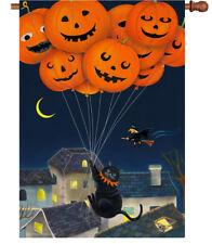 """ BLACK CAT W/ BALLOONS ""  HOUSE FLAG 28"" x 40"" Pumpkins WITCH Halloween SALE **"