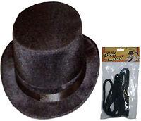 New Unisex Ringmaster Black Topper Hat & Bull Whip Velour Fancy Dress