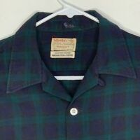 Viyella Vintage Mens Flannel Shirt LS Blue Green Plaid 15