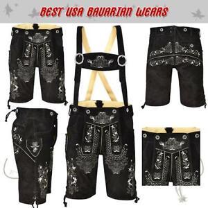 Authentic Men Oktoberfest Bavarian Lederhosen Leather Trousers