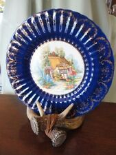 """Plate Somerset Cottage Cobalt Royal Victoria Wade England Pottery 10-3/4""""w"""