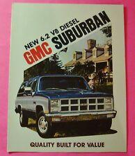 1982 NEW 6.2 V-8 DIESEL GMC SUBURBAN SALES SHOWROOM BROCHURE..6 PAGE FOLDOUT