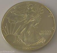 USA 1 Dollar - American Eagle Silbermünze 1992 1oz. 1 Unze 999/1000 Fine Silver