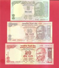 India Gandhi SERIES no date issue 5 10 20 rupee Jalan set of 3 Uncirculated