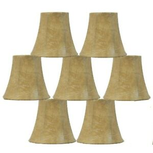 Lot Of 7 Urbanest Faux Leather Chandelier Lamp Shades: Clip On, Bell Shaped