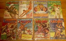 Lot of 8 ARGOSY Weekly pulps magazines 1937, 1939, 1940 Monkey See, Monkey Do