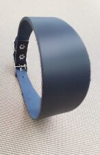 """TRADITIONAL NAVY LEATHER WHIPPET DOG COLLAR  ADJUST 12""""-13.5"""")"""