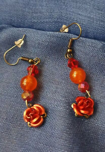 Carnelian  Earrings Beads Rose Gemstone Stunning Unique Drop Dangle Small