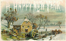 VIntage Postcard-A Happy New Year, Winter Scene Greeting Card, 1909