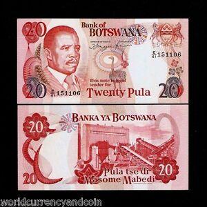 BOTSWANA 20 PULA P13 A 1992 ZEBRA OSTRICH UNC ANIMAL RARE AFRICA BILL BANK NOTE