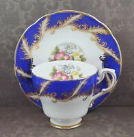 Vintage F104 Royal Blue Floral Bone China Tea Cup and Saucer