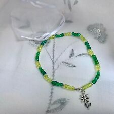 New Flower Charm Anklet ~ Green ~ Stretch Ankle Chain, Summer Holiday Gift idea