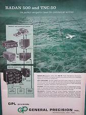 1/1960 PUB GPL GENERAL PRECISION RADAN 500 DOPPLER RADAR / LINK JET SIMULATOR AD