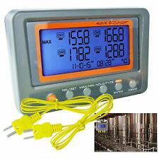 Thermocouple Thermometer K-Type 4 Channel Logger -328~2498°F / °C Beep LED Alarm