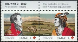 Canada-Guernsey JOINT = WAR 1812 = Pair ENGLISH INSCRIPTION = 2012 #2555a MNH-VF