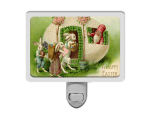 A Happy Easter Cute Funny Bunny Rabbits Egg House with Gnome Night Light
