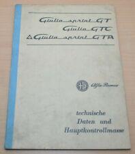 Alfa Romeo Giulia Sprint GT GTC GTA Technische Daten Werkstatthandbuch 9/1966