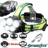 90000LM 5X T6 LED Headlamp Rechargeable Headlight Light Head Flashlight Torches-