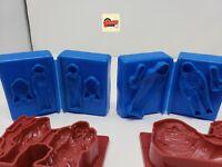 Vintage Star Wars Play Doh molds 3 blue 3 red Luke Skywalker Leia, Darth Vader