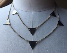 Dainty Gold Tone Angular Necklace/Modern/Geometric/Double Row/Glittery