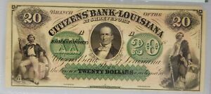 PMG MS 62 Citizens' Bank of Louisiana $20 Note 1860s