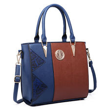 Women PU Leather Tote Snake Printed Stylish  Handbag Shoulder Bag Navy