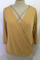 NWT Pleione Women's Twist Front V Neck 3/4 Sleeve Yellow Top T Shirt - Size XS