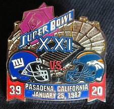 SUPER BOWL 21 ~ NEW YORK GIANTS / BRONCOS Final Score LAPEL PIN Willabee & Ward
