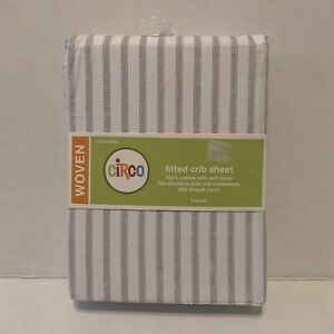 New Circo White Gray Stripes Fitted Standard Crib Sheet Cotton Woven 200 Thread