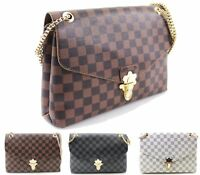 Ladies Womens Check Print Crossbody Bag Chain Messenger Over Shoulder Bag New