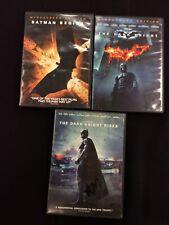 Dark Knight Trilogy Batman Begins + Dark Knight + Rises 3-Disc Dvd Lot