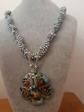 hand made kumihimo blue flower necklace