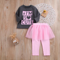 2PCS Toddler Kids Baby Girls Autumn Clothes T-shirt Tops+Pants Dress Outfits Set