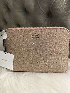 New Kate Spade Burgess Court Small Briley Cosmetic Bag Rose Gold