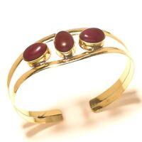 Ruby Bangel Cuff Bracelet Tibetan Silver Brass Gemstone Jewelry
