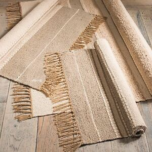 ⭐ Slubweave Soft Cotton Jute Rug Beige Natural Tone Fringed Runner Mat 3 Sizes