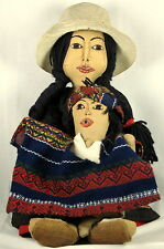 Cloth Doll Mother & Child South American Needle-Sculpted Embroidered