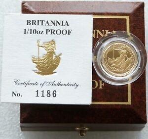 1990 Royal Mint British Britannia £10 Ten Pound Gold Proof 1/10oz Coin Box Coa