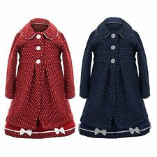 Girls Polka Dot Smart Formal Lined Bow Childrens Tweed Coat Dress Matching Set
