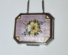 New listing Beautiful Antique *Enamel Guilloche* Lavender Hand Painted Flowers Compact