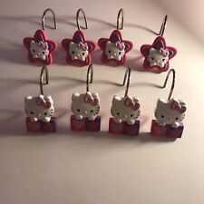 Hello Kitty Shower Curtain Hooks Qty 8 White Purple Pink Stars & Hearts Franco