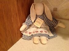 Vintage stuffed Rag Doll Floppy Eared Rabbit Bunny Handmade Nancy Gawron ILL.