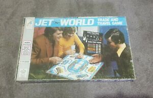 JS - JET WORLD; TRADE AND TRAVEL GAME 1975 by milton bradey co. 2 to 4 players